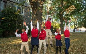 students having fun outside